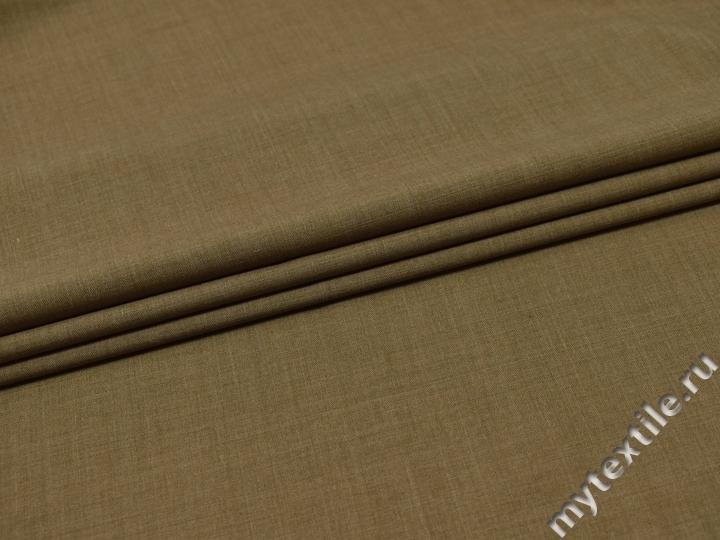 Костюмная бежевая ткань шерсть полиэстер ГД231