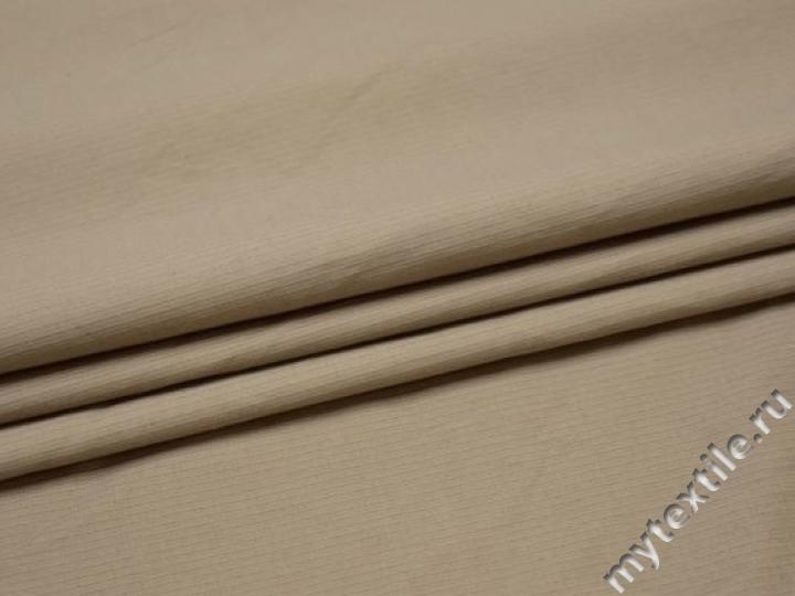 Костюмная бежевая ткань хлопок эластан ВГ464