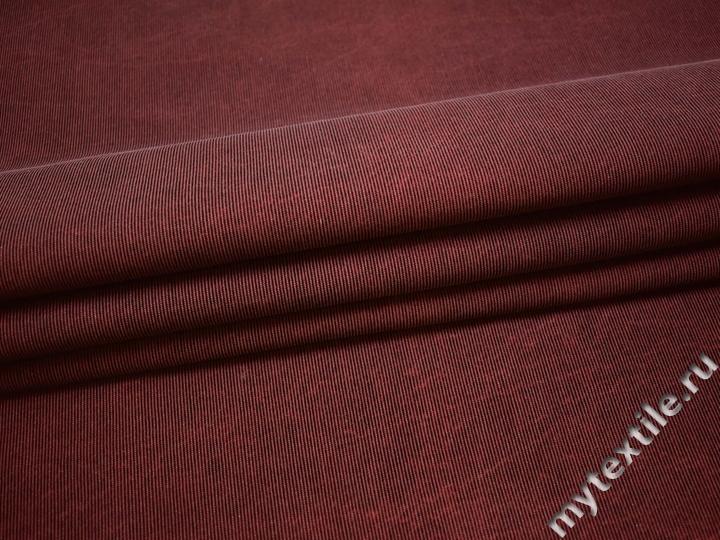 Костюмная бордовая ткань хлопок ВД224