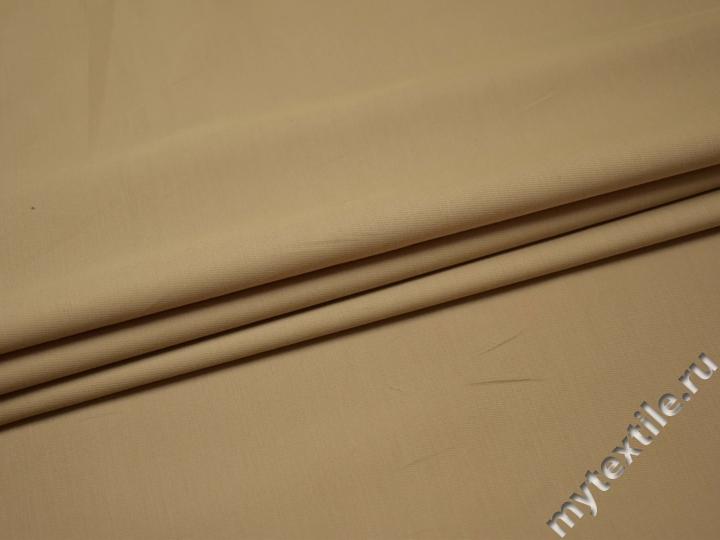 Костюмная бежевая ткань вискоза полиэстер эластан ВД226
