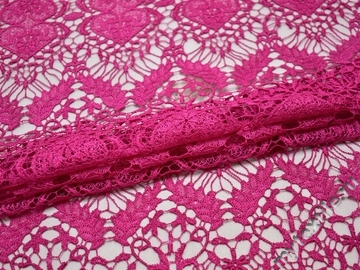Кружево розовое полиэстер сердечки  БА51