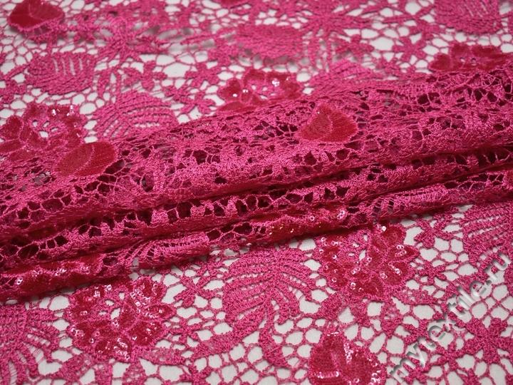 Кружево розовое полиэстер цветы и листья БА530