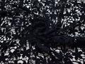 Кружево тёмно-синее полиэстер цветы листья БА52