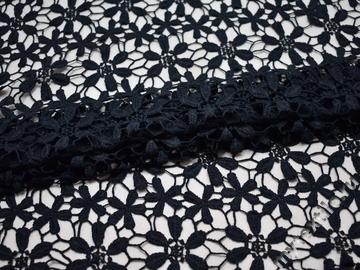 Кружево темно-синее полиэстер цветы БА554