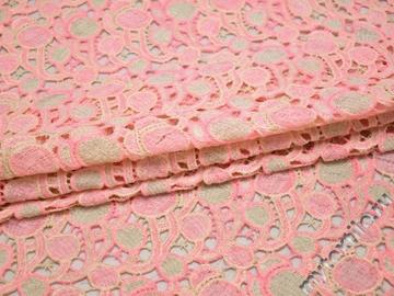 Кружево розовое и молочное полиэстер круги БА552