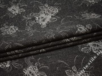 Костюмная серая ткань цветы полиэстер ГД128