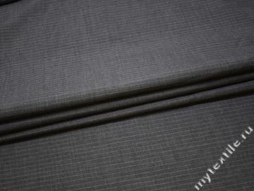 Костюмная серая ткань шелк полоска полиэстер ГД13