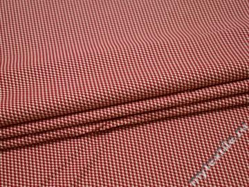 Костюмная красно-белая ткань хлопок эластан ВД627