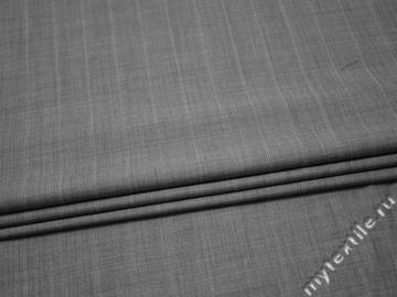 Костюмная серая ткань полоска шелк хлопок ГЕ547
