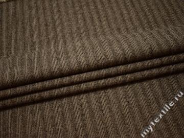 Костюмная коричневая ткань полоска  хлопок полиэстер ГЕ538