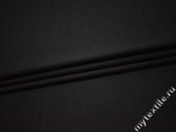 Костюмная черная ткань полоска шерсть полиэстер ГЕ533
