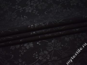 Костюмная черная ткань цветы шерсть полиэстер ГЕ55