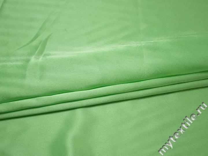 Креп-сатин зеленый полиэстер ГБ194