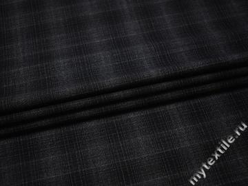 Костюмная серо-черная ткань шерсть полиэстер ДЕ330