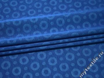 Жаккард синий полиэстер круги ГГ355