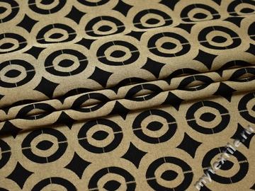 Жаккард черно-золотой с узором хлопок полиэстер ГГ338