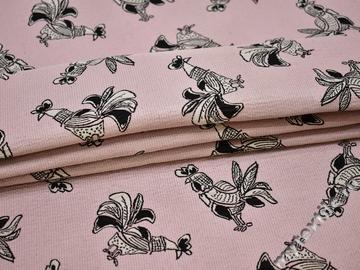 Жаккард розово-черный птицы полиэстер ГГ324