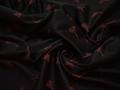 Жаккард черный с красным узором хлопок полиэстер эластан ГГ37