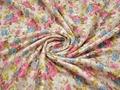 Жаккард белый с розовым желтым голубым цветочным узором полиэстер ГГ32