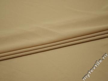 Плательная бежевая ткань полиэстер эластан БА252