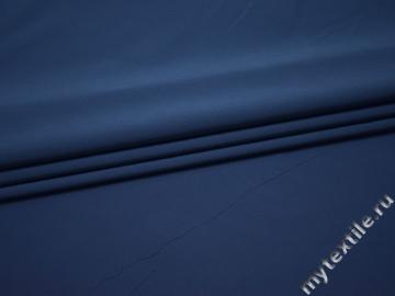 Плательная синяя ткань хлопок полиэстер эластан БА226