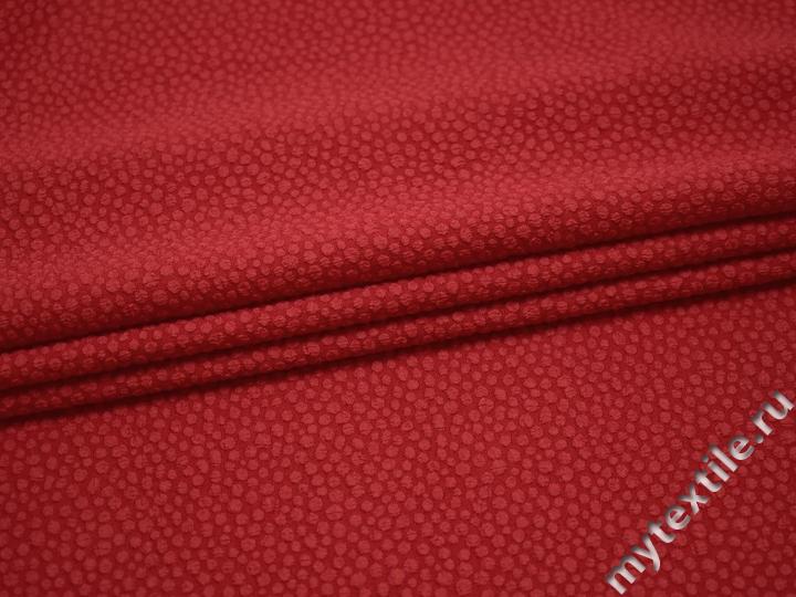Плательная красная ткань геометрия полиэстер эластан БА222