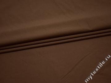 Плательная коричневая ткань хлопок эластан БА212