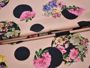 Плательная розовая ткань круги цветы полиэстер эластан ББ2114