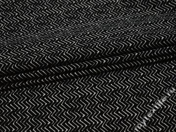 Плательная черная белая ткань зигзаг полиэстер ББ166