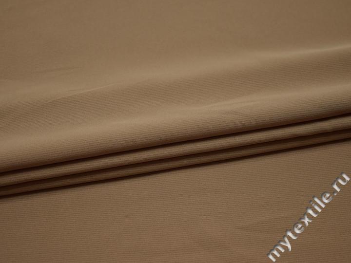 Плательная бежевая ткань полиэстер эластан БА18