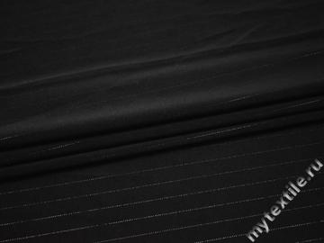 Костюмная черная ткань люрекс полиэстер эластан ГГ453