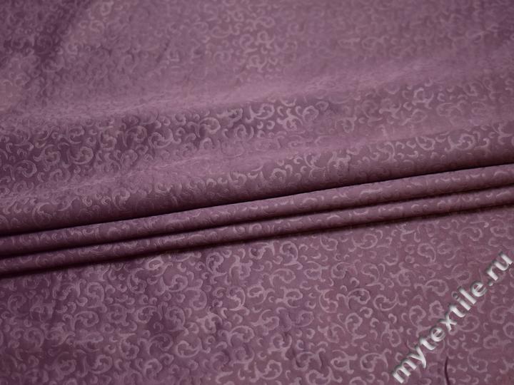 Плательная сиреневая ткань узор полиэстер БА135