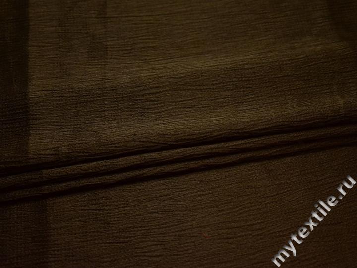 Плательная фактурная цвета хаки ткань полиэстер БА125