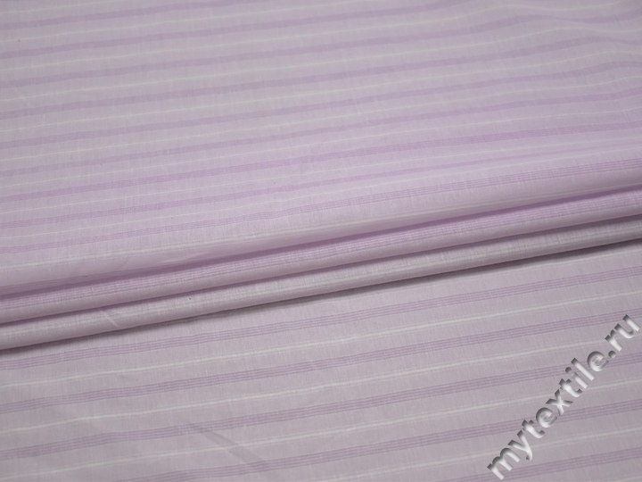Рубашечная сиреневая ткань полоска хлопок БВ373