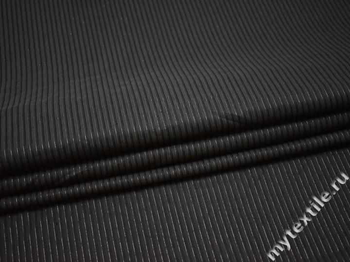 Рубашечная тёмно-серая ткань полоска хлопок эластан БВ368