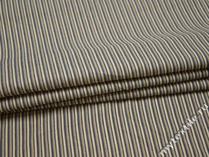 Рубашечная бежевая синяя ткань полоска вискоза БВ364