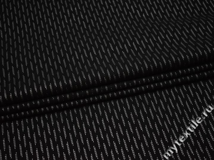 Рубашечная черная ткань геометрия полиэстер эластан БВ355