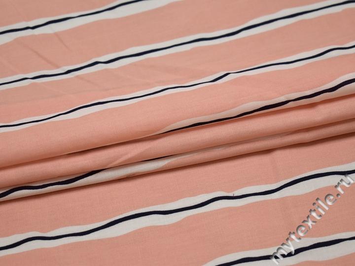 Рубашечная персиковая ткань полоска хлопок БВ354