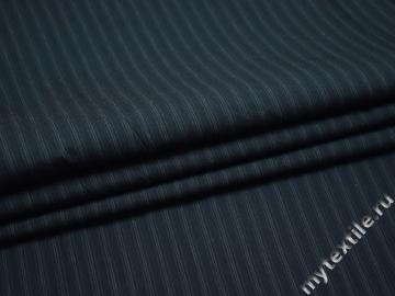 Рубашечная синяя ткань полоска хлопок полиэстер БВ353
