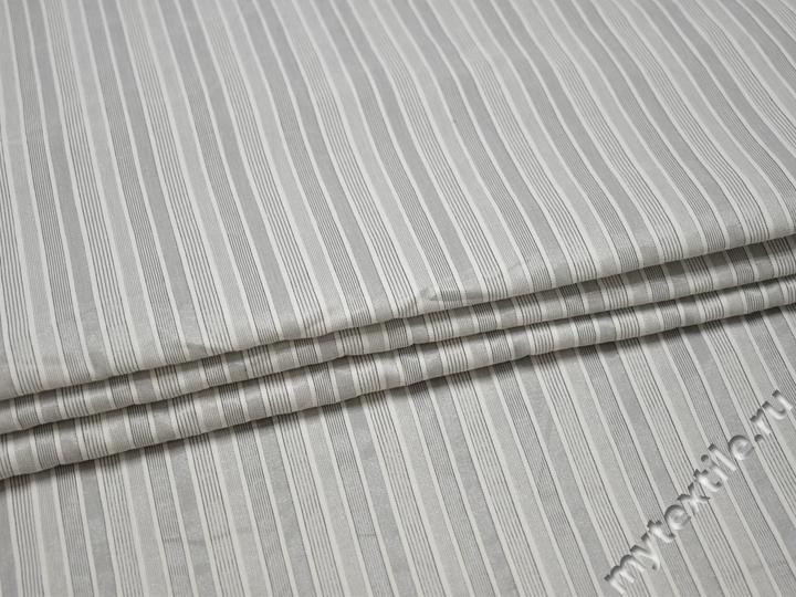 Рубашечная серая ткань полоска хлопок эластан полиэстер БВ345