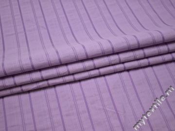 Рубашечная сиреневая ткань полоска хлопок эластан БВ342