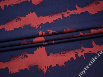 Рубашечная красная синяя ткань абстракция  хлопок эластан БВ339