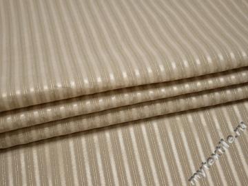 Рубашечная бежевая ткань полоска хлопок полиэстер эластан БВ336