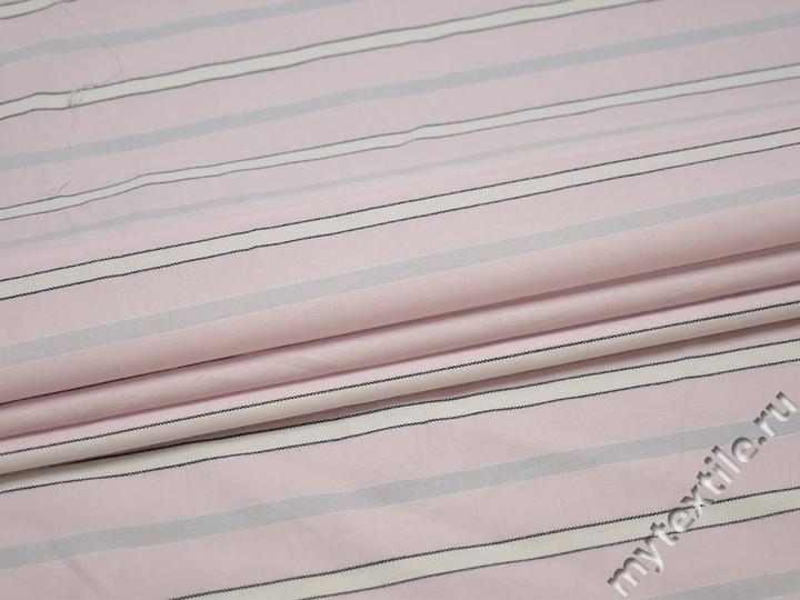 Рубашечная розовая ткань полоска хлопок БВ333