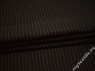 Рубашечная коричневая ткань полоска хлопок полиэстер эластан БВ322