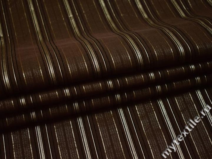 Рубашечная коричневая ткань полоска хлопок полиэстер эластан БВ321