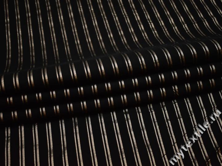 Рубашечная черно-золотая ткань полоска хлопок полиэстер эластан БВ318