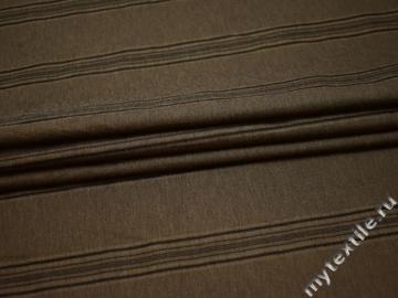 Рубашечная коричневая ткань полоска хлопок БВ38