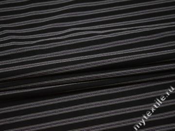 Рубашечная черная ткань полоска вискоза хлопок БВ36