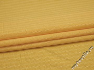 Рубашечная желтая ткань полоска клетка хлопок БГ221